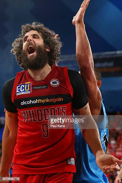 Matt Knight of the Wildcats reacts after being stripped of the ball during the round six NBL match between the Perth Wildcats and the New Zealand...