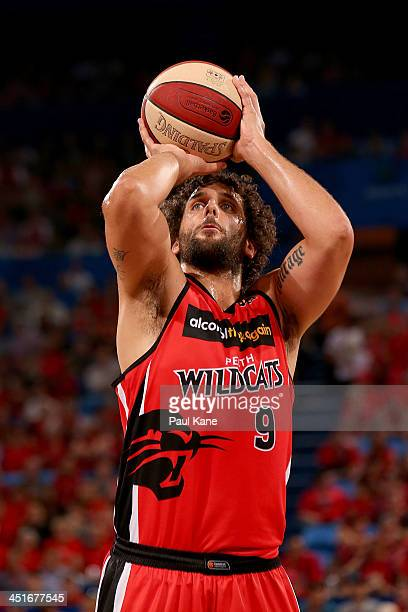 Matt Knight of the Wildcats shoots a free throw during the round seven NBL match between the Perth Wildcats and the Sydney Kings at Perth Arena in...