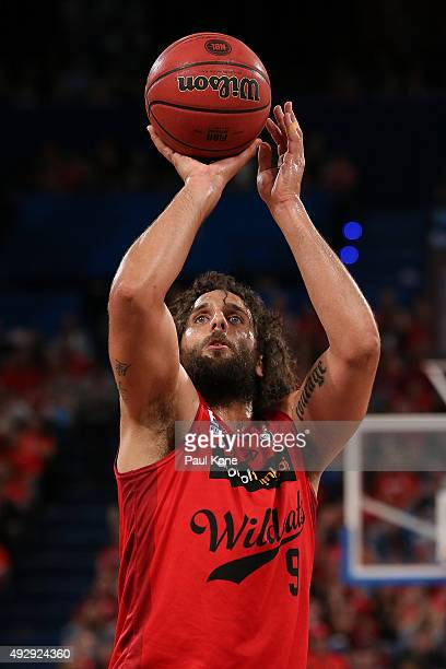 Matt Knight of the Wildcats shoots a free throw during the round two NBL match between the Perth Wildcats and the New Zealand Breakers at the Perth...