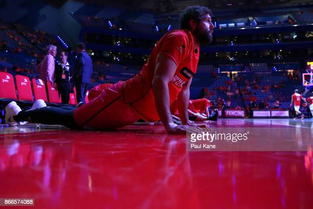 Matt Knight of the Wildcats warms up before the round four NBL match between the Perth Wildcats and the Illawarra Hawks at Perth Arena on October 26...