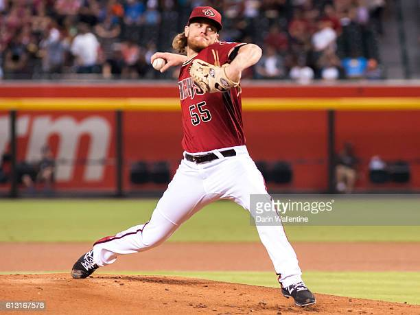Matt Koch of the Arizona Diamondbacks delivers a pitch in the first inning of the MLB game between the San Diego Padres and Arizona Diamondbacks at...
