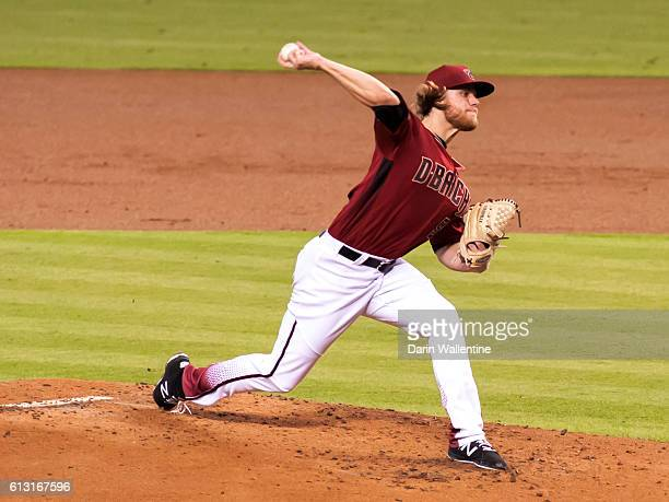 Matt Koch of the Arizona Diamondbacks delivers a pitch in the second inning of the MLB game between the San Diego Padres and Arizona Diamondbacks at...