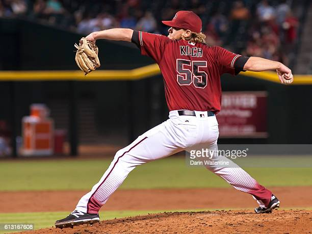 Matt Koch of the Arizona Diamondbacks delivers a pitch in the third inning of the MLB game against the San Diego Padres at Chase Field on October 2...