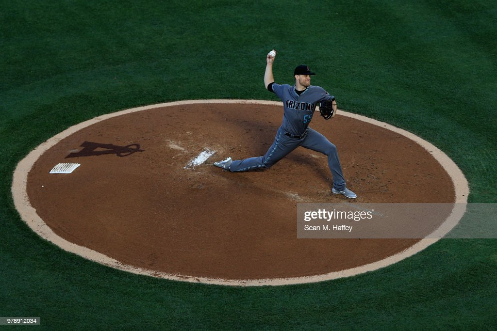 Matt Koch #55 of the Arizona Diamondbacks pitches during the first inning of a game against the Los Angeles Angels of Anaheim at Angel Stadium on June 19, 2018 in Anaheim, California.