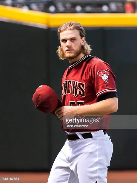 Matt Koch of the Arizona Diamondbacks warms up before the MLB game between the San Diego Padres and Arizona Diamondbacks at Chase Field on October 2...