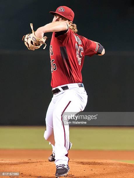 Matt Koch of the Arizona Diamondbacks warms up in the first inning of the MLB game between the San Diego Padres and Arizona Diamondbacks at Chase...