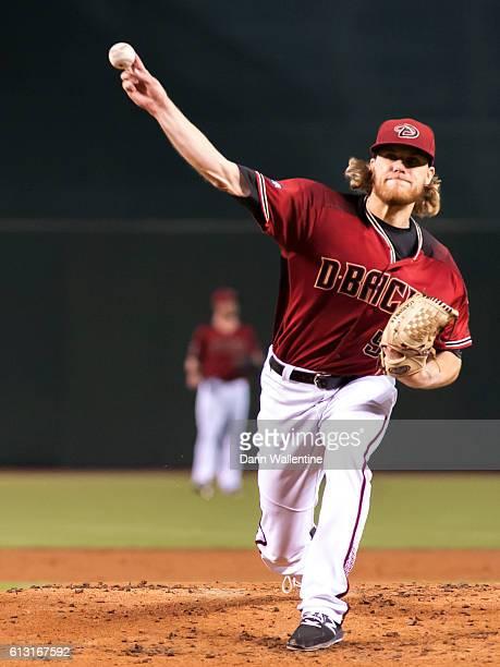 Matt Koch of the Arizona Diamondbacks warms up in the second inning of the MLB game between the San Diego Padres and Arizona Diamondbacks at Chase...