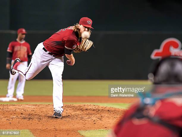 Matt Koch of the Arizona Diamondbacks warms up in the third inning of the MLB game against the San Diego Padres at Chase Field on October 2 2016 in...