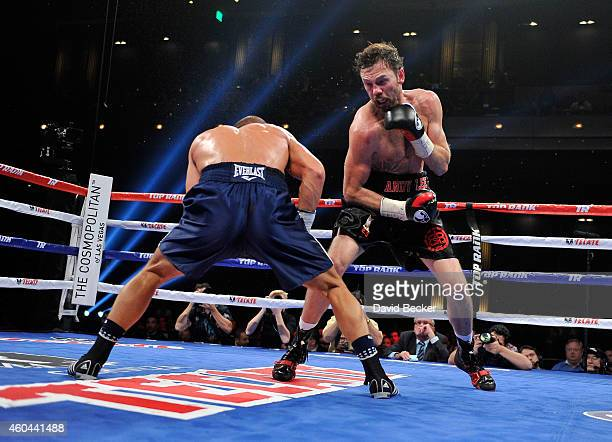 Matt Korobov and Andy Lee battle during their fight for a vacant WBO middleweight title at The Chelsea at The Cosmopolitan of Las Vegas on December...