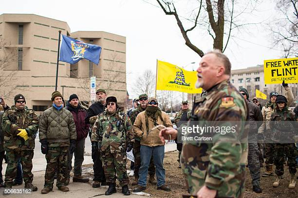 Matt Krol speaks to protestors and citizens about the Flint Water Crisis on January 24, 2016 at Flint City Hall in Flint, Michigan. The event was...