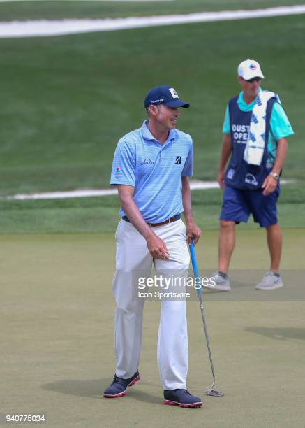 Matt Kuchar acknowledges the gallery after his putt on 1 during the final round of the Houston Open on April 1 2018 at the Golf Club of Houston in...