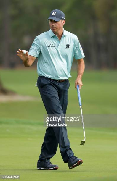 Matt Kuchar acknowledges the gallery following a putt on the second green during the final round of the 2018 RBC Heritage at Harbour Town Golf Links...