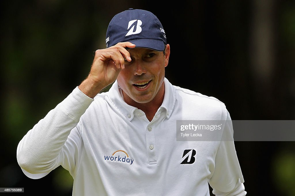 Matt Kuchar acknowledges the gallery on the 1st green during the final round of the RBC Heritage at Harbour Town Golf Links on April 20, 2014 in Hilton Head Island, South Carolina.