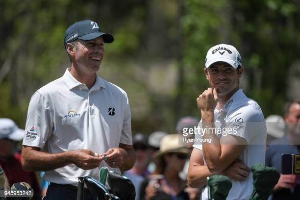 Matt Kuchar and Wesley Bryan share a laugh during the second round of the RBC Heritage at Harbour Town Golf Links on April 13 2018 in Hilton Head...