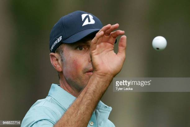 Matt Kuchar attempts to catch a ball on the first green during the final round of the 2018 RBC Heritage at Harbour Town Golf Links on April 15 2018...