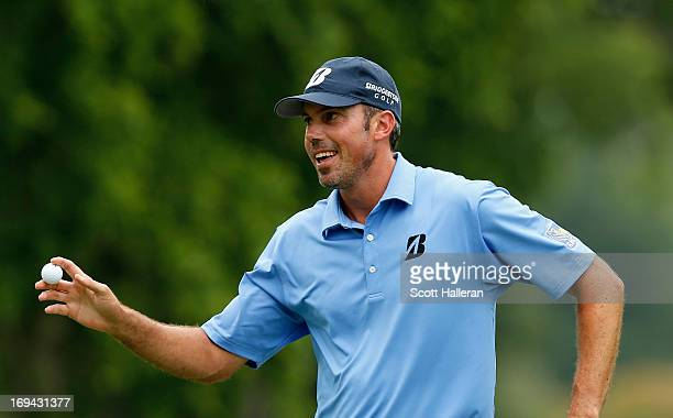 Matt Kuchar celebrates a birdie putt on the seventh green during the second round of the Crowne Plaza Invitational at Colonial at Colonia Country...