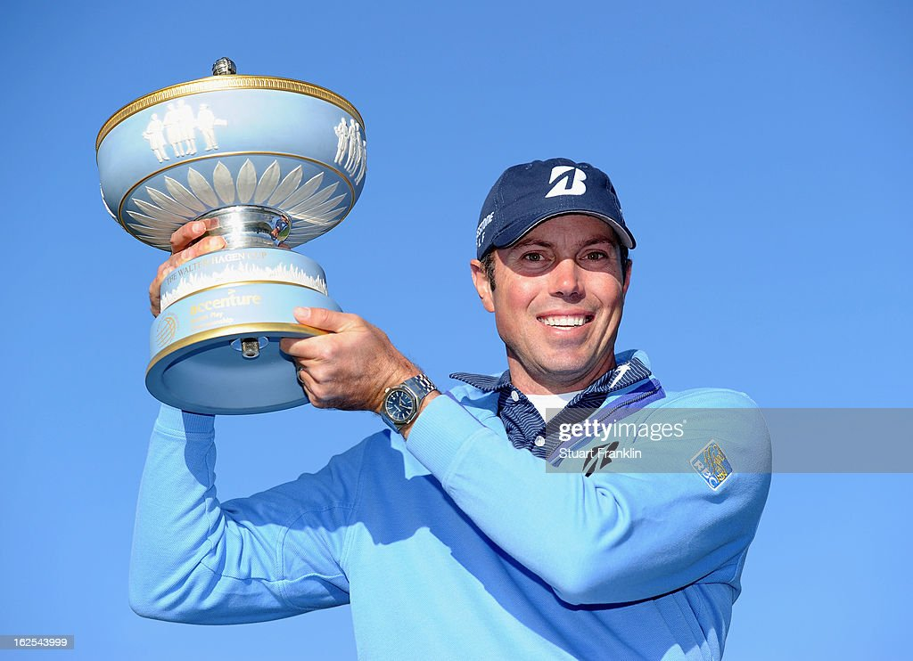 Matt Kuchar celebrates with the trophy after he won the championship match against Hunter Mahan during the final round of the World Golf Championships - Accenture Match Play at the Golf Club at Dove Mountain on February 24, 2013 in Marana, Arizona.