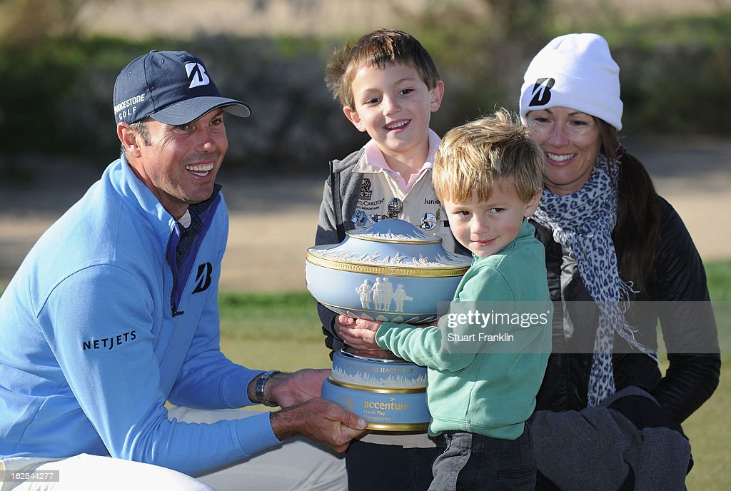 Matt Kuchar celebrates with the trophy as he poses with wife Sybi and sons Cameron (2nd R) and Carson after Kuchar won his championship match against Hunter Mahanduring the final round of the World Golf Championships - Accenture Match Play at the Golf Club at Dove Mountain on February 24, 2013 in Marana, Arizona.