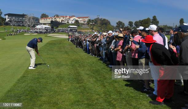 Matt Kuchar hits a shot on the ninth hole during the third round of the Genesis Invitational at Riviera Country Club on February 15 2020 in Pacific...