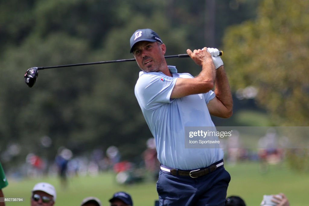 Matt Kuchar hits a tee shot during the third round of the PGA Tour Championship on September 23, 2017 at East Lake Golf Club in Atlanta, Georgia.