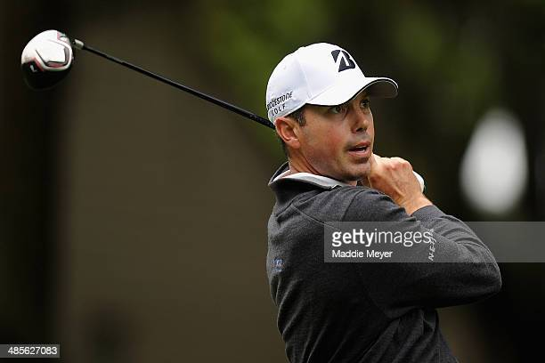 Matt Kuchar hits a tee shot on the 2nd hole during the third round of the RBC Heritage at Harbour Town Golf Links on April 19 2014 in Hilton Head...