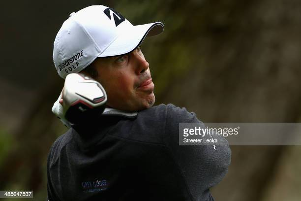 Matt Kuchar hits a tee shot on the 6th hole during the third round of the RBC Heritage at Harbour Town Golf Links on April 19 2014 in Hilton Head...