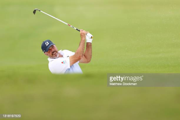 Matt Kuchar hits from the bunker on the 18th hole during round three of the AT&T Byron Nelson at TPC Craig Ranch on May 15, 2021 in McKinney, Texas.