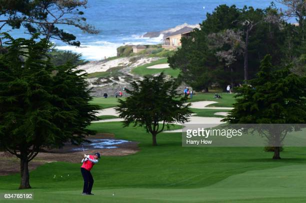 Matt Kuchar hits his second shot on the first hole during Round Three of the ATT Pebble Beach ProAm at Spyglass Hill Golf Course on February 11 2017...