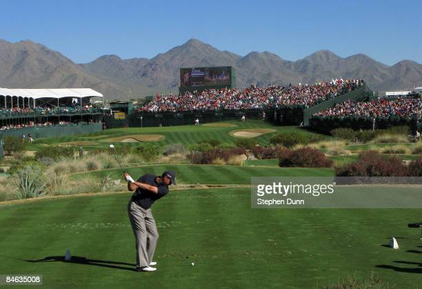 Matt Kuchar hits his tee shot on the 16th hole during the final round of the FBR Open on February 1, 2009 at TPC Scottsdale in Scottsdale, Arizona.