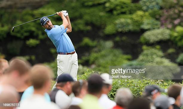 Matt Kuchar hits his tee shot on the 18th hole during the final round of the Memorial Tournament presented by Nationwide Insurance at Muirfield...