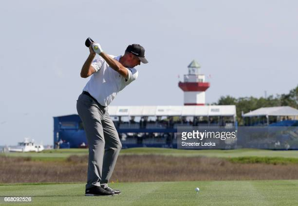 Matt Kuchar hits his tee shot on the 18th hole during the first round of the 2017 RBC Heritage at Harbour Town Golf Links on April 13 2017 in Hilton...