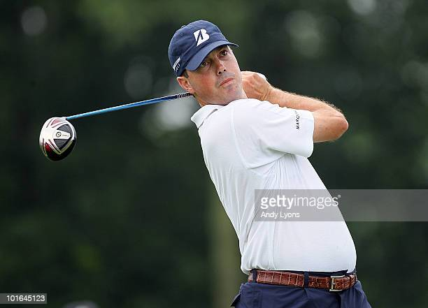 Matt Kuchar hits his tee shot on the first shot during the third round of The Memorial Tournament presented by Morgan Stanley at Muirfield Village...