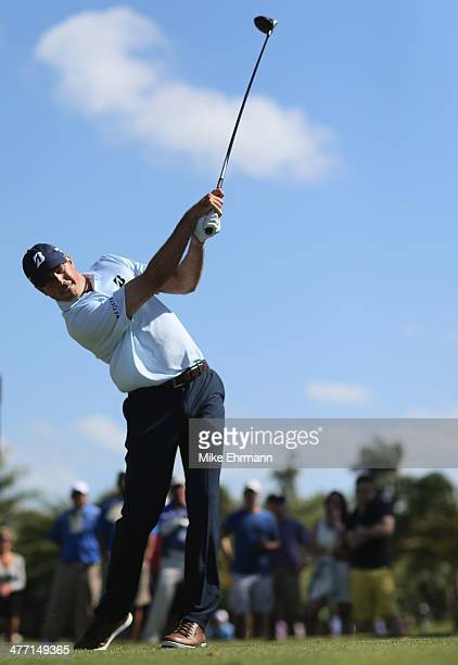 Matt Kuchar hits his tee shot on the seventh hole during the second round of the World Golf ChampionshipsCadillac Championship at Trump National...
