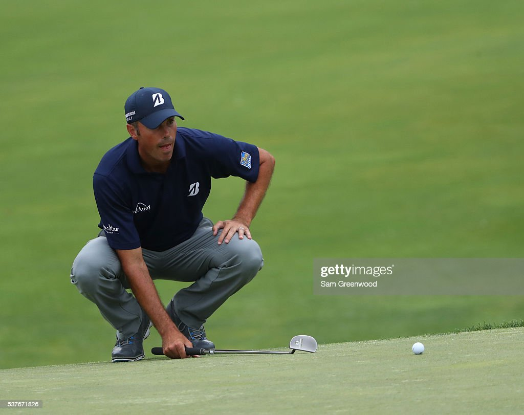 Matt Kuchar lines up a par putt on the 18th hole during the first round of The Memorial Tournament at Muirfield Village Golf Club on June 2, 2016 in Dublin, Ohio.
