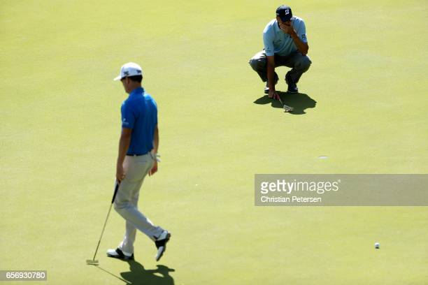 Matt Kuchar lines up a putt on the 2nd hole of his match against Zach Johnson during round two of the World Golf ChampionshipsDell Technologies Match...