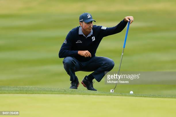 Matt Kuchar looks over a putt on the fourth green during the second round of the Valero Texas Open at TPC San Antonio ATT Oaks Course on April 19...