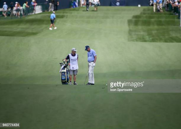 Matt Kuchar looks over his approach shot on 2 during the final round of the Houston Open on April 1 2018 at the Golf Club of Houston in Humble Texas