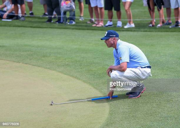 Matt Kuchar looks over this putt on 1 during the final round of the Houston Open on April 1 2018 at the Golf Club of Houston in Humble Texas