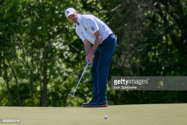 Matt Kuchar of the United States attempts his birdie putt on during the second round of the 50th anniversary AT&T Byron Nelson on May 18, 2018 at...