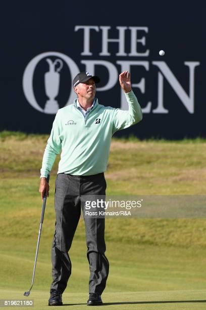 Matt Kuchar of the United States catches his ball on the 18th green during the first round of the 146th Open Championship at Royal Birkdale on July...