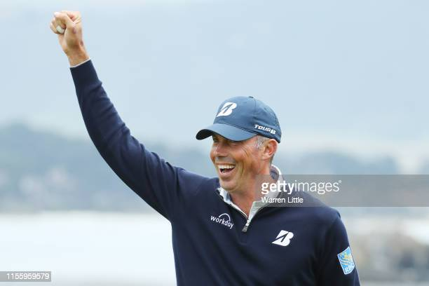 Matt Kuchar of the United States celebrates after chipping in for eagle on the 18th hole during the second round of the 2019 US Open at Pebble Beach...