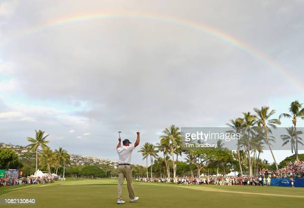 Matt Kuchar of the United States celebrates after making a putt for birdie on the 18th green to win the Sony Open In Hawaii at Waialae Country Club...