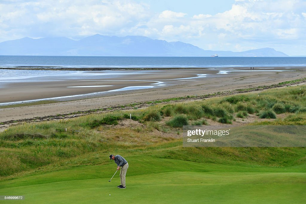 Matt Kuchar of the United States hits a shot during a practice round ahead of the 145th Open Championship at Royal Troon on July 13, 2016 in Troon, Scotland.