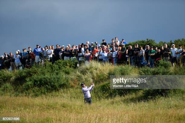 Matt Kuchar of the United States hits his second shot on the 10th hole during the third round of the 146th Open Championship at Royal Birkdale on...