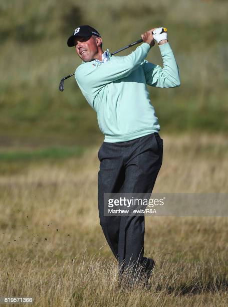 Matt Kuchar of the United States hits his second shot on the 16th hole during the first round of the 146th Open Championship at Royal Birkdale on...