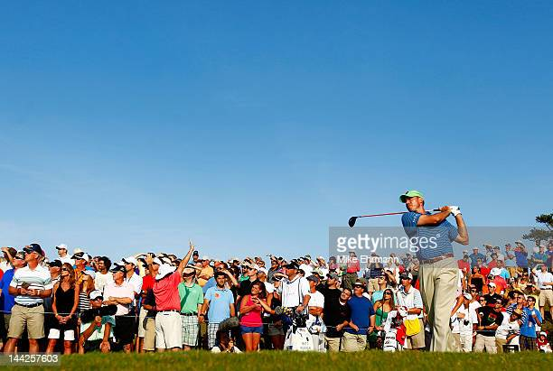 Matt Kuchar of the United States hits his tee shot on the 18th hole during the third round of THE PLAYERS Championship held at THE PLAYERS Stadium...