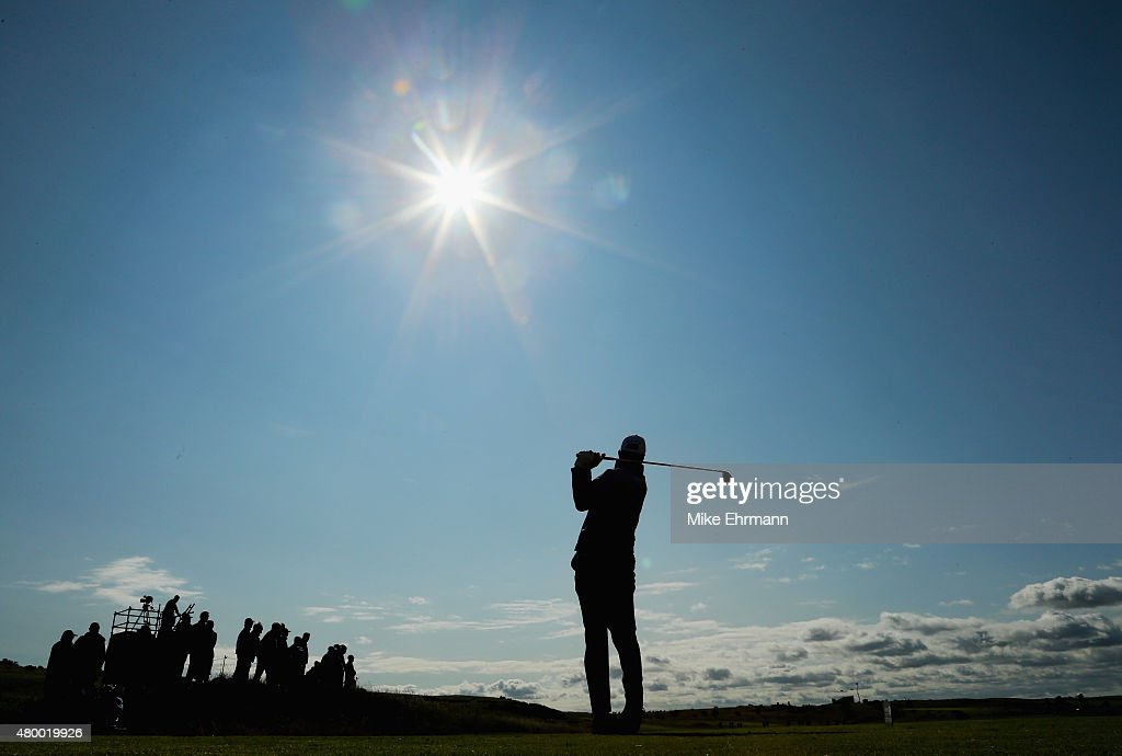 Matt Kuchar of the United States hits his tee shot on the fourth hole during the first round of the Aberdeen Asset Management Scottish Open at Gullane Golf Club on July 9, 2015 in Gullane, East Lothian, Scotland.