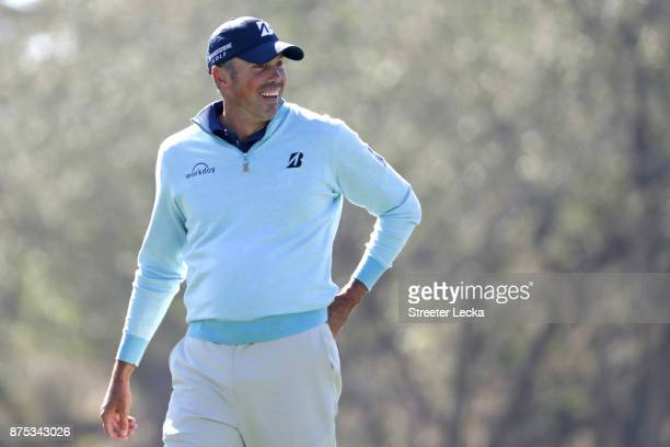 Matt Kuchar of the United States looks on from the first hole during the first round of The RSM Classic at Sea Island Golf Club Seaside Course on...