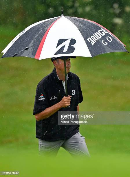 Matt Kuchar of the United States makes his way to the 10th green during round one of the RBC Canadian Open at Glen Abbey Golf Club on July 27 2017 in...