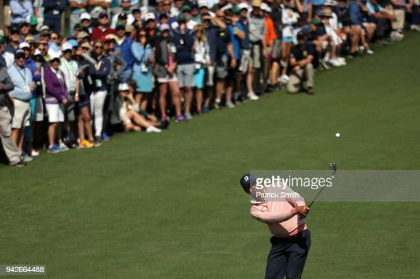 Matt Kuchar of the United States plays a approach shot on the second hole during the second round of the 2018 Masters Tournament at Augusta National...